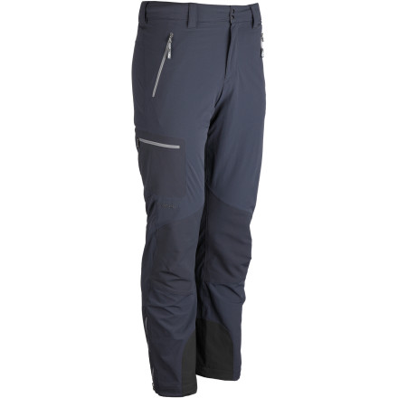 Before your next alpine rock route or cool-weather trek, suit up in the Rab Men's Scimitar Softshell Pant. In addition to providing solid midweight weather protection, these pants feature articulated knees and generous fabric stretch so you can move freely over technical terrain. Plus, the Cordura knee patches and scuff guards provide tough abrasion resistance where you need it most. - $149.95