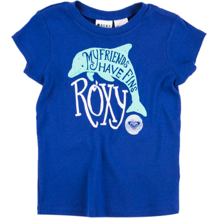 Surf Make your girl feel like a princess of the sea in the Roxy Friends With Fins Toddler Girls' Short-Sleeve T-Shirt. - $18.00