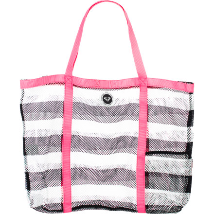 Surf No more lugging around a bag full of seawater. Carry your seaside gear in the handy and durable mesh Roxy Women's Breezy Tote Bag. Your wet rashguard or boardshort won't ruin the look of this tote, and the mesh will let the water drain for a lighter load on the trip home. Bold contrast web trim and logo patch add fun style, and this low-maintenance tote will look great all summer long. - $34.00