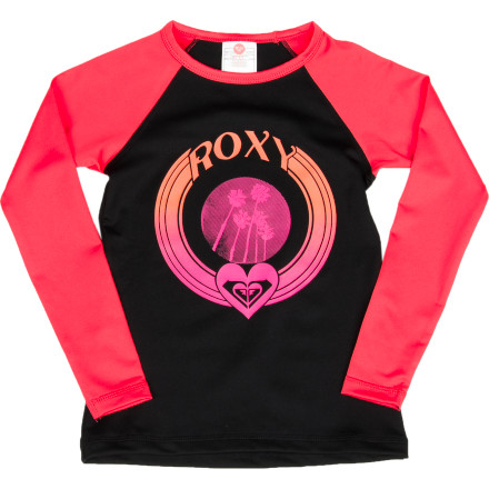 Surf Don't let your little angel turn into a little red devil by getting roasted by the sun when she's out on the water all day. The Roxy Bonfire Sand Dancer Girls' Rashguard protects her skin from her board and the sun without restricting movement, so she can still have fun in the sun whether she's surfing or perfecting her sand castle. - $36.00