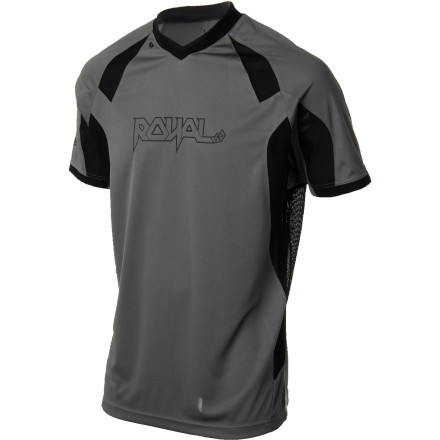 MTB Royal Racing designed the Turbulence Jersey with scorching summer days in mind. The soft, stretchy fabric and open mesh panels allow you to move freely while they allowing the breeze to come and go unfettered. The main body of the Turbulence Jersey is a breathable, four-way stretch synthetic fabric. It wicks moisture away from your skin to the surface of the jersey, where the moisture quickly evaporates. This keeps you cool and dry, even with the sun beating down. The Turbulence also has two-way stretch mesh panels on the sides that force cooling air to flow through the jersey. A Lycra collar provides total freedom of movement and no itchy irritation. The Turbulence Jersey has a relaxed AM/FR fit. It doesn't just look goodit provides plenty of room for your body armor, so you can be safe without feeling like your being hugged by a gorilla. The Royal Racing Turbulence Jersey comes in sizes S through XXL and is available in Ash/black or Black/electric blue. - $59.95