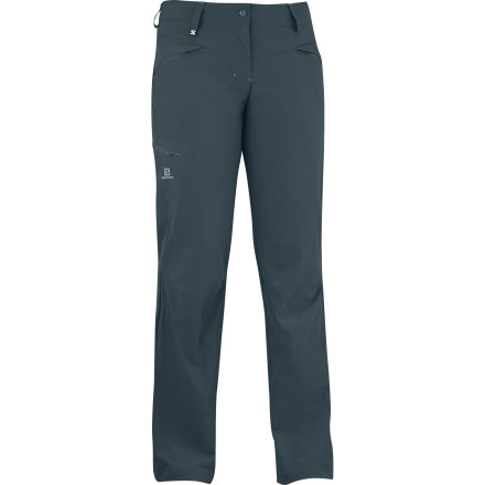 Camp and Hike Wander far wearing the Salomon Women's Wayfarer Pant. This supremely comfortable softshell pant features a ClimaWind membrane to shield you from biting high alpine winds as you scramble across scree fields or wind up a trail to the summit. - $89.95
