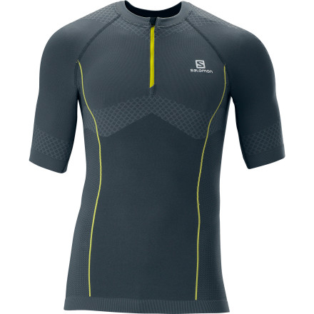 Fitness Hot weather calls for an athletic tee like the Salomon Men's Exo Motion Zip T-Shirt. Made for trail running and fast hiking, this shirt uses stretch material to support your chest and upper body and mesh panels to keep you cool at your sides and under your arms. Because details make all the difference in the world when you're moving fast, Salomon gave this performance shirt a low collar and seamless construction for added comfort. This is the kind of shirt you can wear on the trail and then into the grocery store afterward. - $79.95