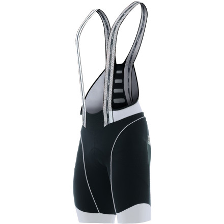 Fitness Even die-hard bib shorts devotees need a little less material up top when the mercury rises. And not surprisingly, the maestros at Santini have crafted the BCool Bib Shorts with this very situation in mind. These are definitely one pair of bib shorts that you'll want to have on hand for the hottest periods of your riding season. Santini constructed the Bcool bib shorts from the Lycra Newport material -- a fabric with enhanced shape retention and a UPF 50 rating. This fabric was selected for its superior breathability and rapid moisture management. Furthering this design principle, Santini placed carbon fiber fabric inserts throughout the bib shorts in order to enhance thermo-regulation at key locations. According to Santini testing, athletes wearing carbon fabric experienced temperature variation three-times lower than with wearing fabrics made only of polyester. By sheltering you from temperature spikes, carbon fabric inserts allow you to save a few precious heart beats per minute, thus reducing your oxygen need. To put it more simply, you're a machine, and this fabric increases your efficiency. 'Efficiency' in this sense means increasing your body's ability to turn metabolic energy into mechanical energy over longer periods of time. It also equates to having some gas left in the tank for long climbs in the last 20 miles of a mid-Summer century. The BCool bib shorts provide the same compressive support found in other Santini shorts with a 78% polyester/22% elastane blend, however, what sets them apart are the braces themselves. About the width of a typical pair of suspenders, the elasticized-mesh braces bisect the pectoral muscles before securely nestling between the depression of your trapezius muscles and clavicle. Around back, they're met at the mid-lower back by a mesh insert that draws them together slightly in order to accentuate their stay-put grip at the shoulder. - $259.95