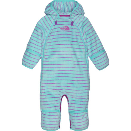 Entertainment Unless you live in the tropics, your little one needs more than a blanket during a large chunk of the year. The North Face Infant Girls' Striped Buttery Bunting is ideal as an outer layer in most cooler temps and offers exceptional insulation under a thicker suit during bitter winters. Overflaps at the hands and feet seal her in while dual, full-length front zippers allow easy changing and dressing. - $69.95