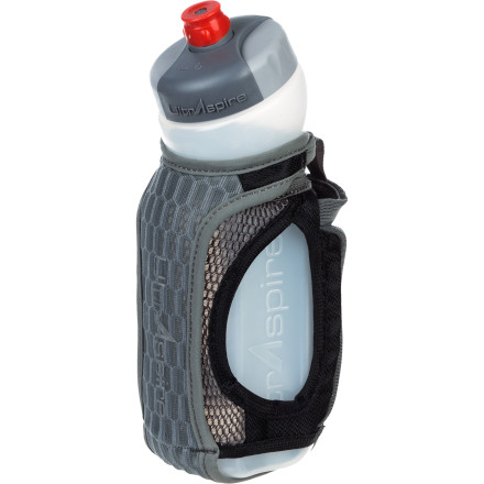 Camp and Hike Whether you're about to head out on a short training session or a hike, take the intuitively designed UltrAspire ISomeric Pocket Water Bottle to fulfill your hydration and energy needs. This breathable hand-held water-bottle carrier includes a 20-ounce angled water bottle to quench your thirst and a stretch mesh pouch for your salt tabs or energy goo. - $29.45