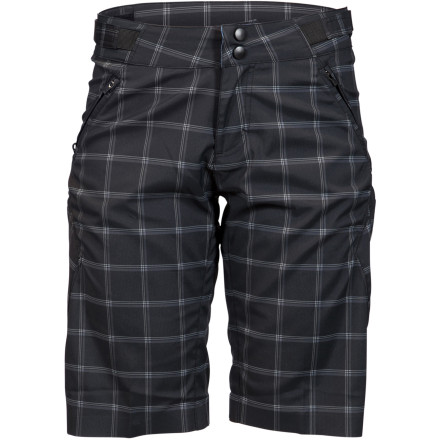 MTB As a woman, it can be a real pain to find a nice, long pair of freeride shorts, and even tougher to find a pair with actual mountain-bike-specific performance features. The ZOIC Women's Navaeh Plaid Short has you covered in both departments with the added style of a plaid print. This full-featured freeride short has an 11-inch inseam and a women-specific fit that looks good and won't interfere with your knee pads.The most important feature of the Navaeh Plaid Short is its chamois liner. The chamois, called the ZO-Tech, is ZOIC's highest-quality, multi-level, stretch chamois. It's even made with recycled polyester so it gives a little back. The chamois cushions impacts and reduces vibrations in the saddle. While you may not even really feel these vibrations, your muscles do, and all that shock and vibration causes fatigue. The liner is also fully removable. You can wear the Navaeh Short with the liner, then ditch the liner when you just need a casual walkshort. You can even wear the liner with other shorts to transform them from casual shorts to riding shorts. The Navaeh Short's list of features doesn't end with its removable chamois liner, though. The whole body of the Navaeh is made with a stretch material that won't bind or limit your range of motion. The fabric also pulls moisture away from your skin to keep you dry and comfortable. A Fusion Gusset inseam further increases the short's range of motion and eliminates seat hang-ups. The Navaeh also comes with plenty of pocketstwo front and two thigh so you have plenty of room for your essentials. There's even a dedicated media pocket for your phone or MP3 player with a headphone cord control grommet and loop to avoid snags. As far as fit is concerned, the Navaeh's cuffs falls at the knee. The leg holes are loose enough that they don't interfere with knee pads. ZOIC also included waist adjustments so you can really dial the fit to your exact specifications. - $93.95