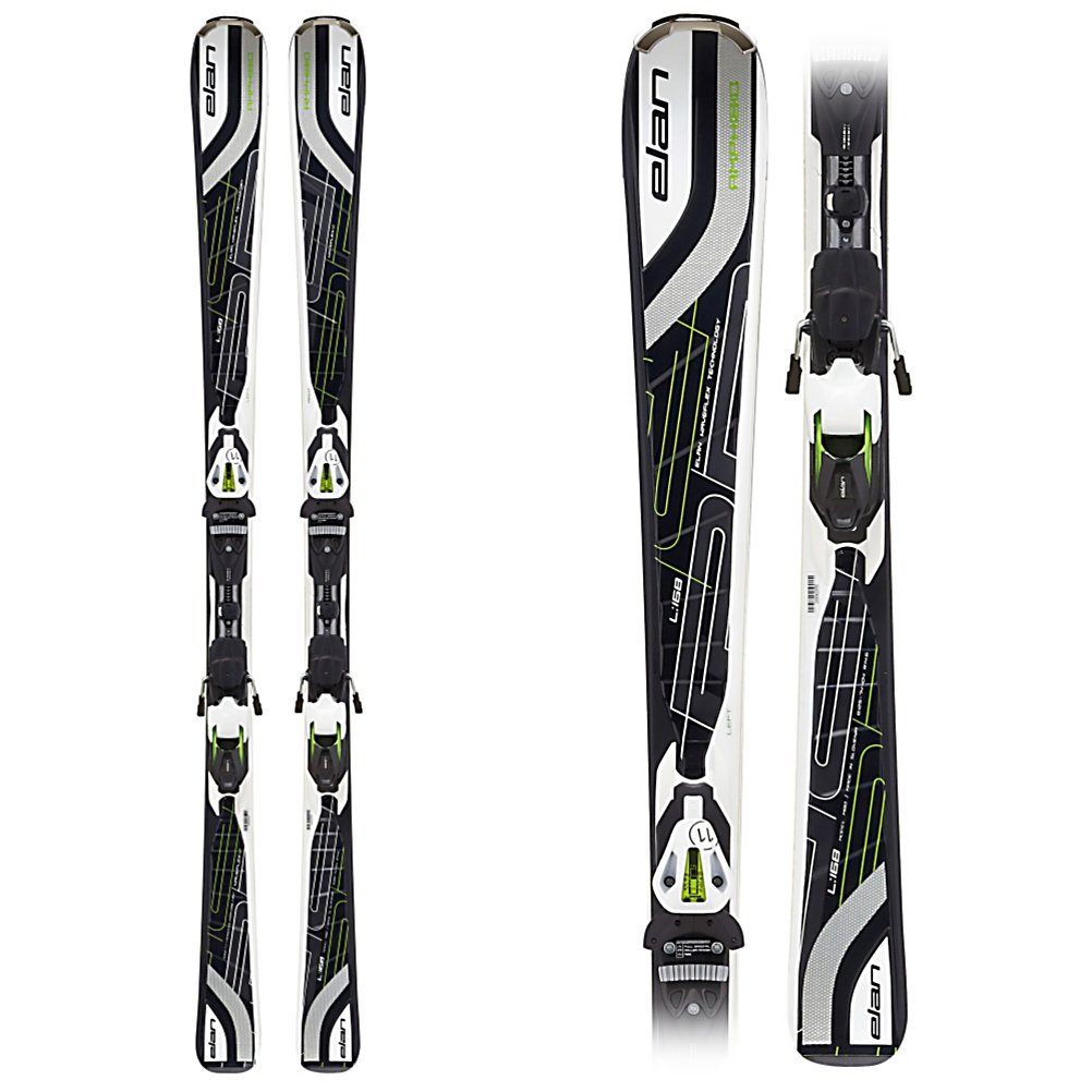 Ski Elan Amphibio Waveflex 12 Mens Skis with ELX 11.0 Bindings 2012 - Normally a rocker is a set amount of rise over the tip and/or tail of a ski, Amphibio is a totally reworked approach. The idea is simple enough, rocker makes skis easy to turn and camber gives skis great edge grip, so why not use both. To achieve this Amphibio skis are fully cambered tip to tail on the inside edges for power and grip, but the outside edge is slightly rockered in the tip and tail allowing the uphill ski to enter the turn with ease and control. This creates a right and left specific ski, so extra attention must be paid, but it is worth the amazing turn feel of the Amphibio Waveflex 12. Coupled with the proven technology of Waveflex to help control the flex tip to tail and torsionally the 12 has the unique ability to ski very hard and aggressively but still be incredibly accessible and forgiving. The RST sidewall, laminated wood core, and mono TI layer amplify the nature of the Amphibio rocker adding to the quickness, edge hold, and smooth chatter free feel of the Amphibio Waveflex 12. Whether you are an athletic intermediate to a high level advanced skier the Amphibio Waveflex 12 will get you carving proper turns in no time flat while it gives a smooth and predictable ride at any speed. . Tip/Waist/Tail Widths: 125/74/104mm, Actual Turn Radius @ Specified Length: 14.1m (@ 168cm), Warranty: One Year, Type: Frontside Skis ( - $299.89