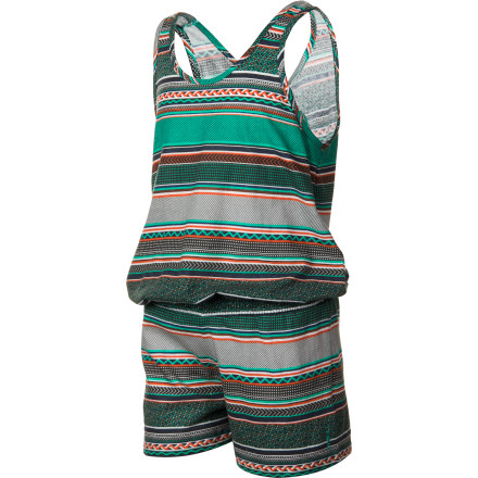 Surf In the summertime your girl is out the door the minute she wakes up and plays outside all day, so make it easy for her to get dressed and ready to romp in the O'Neill Outer Reef Girls' Short. This tank-style romper makes getting dressed a breeze and allows plenty of freedom of movement so she can be comfortable no matter what activity she settles on doing today. - $33.95