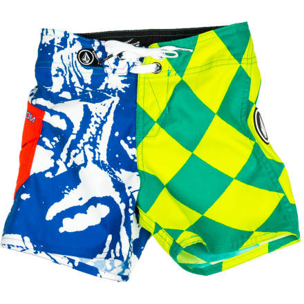 Fitness Get your boy ready for his first round of swim lessons with the Volcom Maguro Paradox Little Boys' Board Short. The colorful contrasting prints will get him stoked to hit the water, and the two-way stretch fabric allows freedom of movement so he can doggy paddle to his heart's content. - $41.95