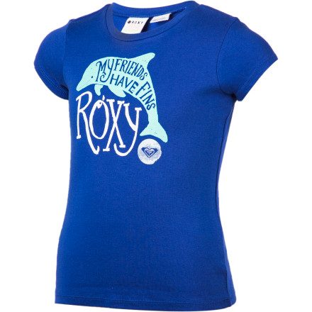 Surf Let her show her love for our marine-dwelling friends with the Roxy Friends With Fins Girls' Short-Sleeve T-Shirt. - $18.00