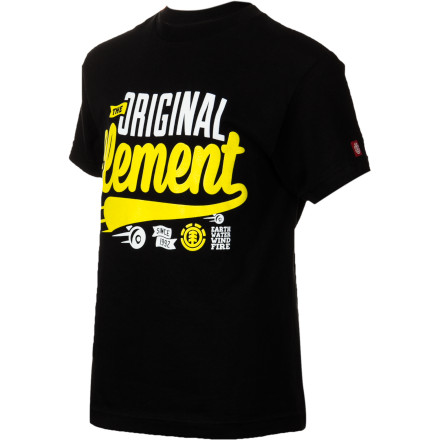 Skateboard Your kid is getting a little old for cartoons and bubble letters on his clothes, so give him a little bit more grown-up style with the Element OG Script Boys' Short-Sleeve T-Shirt. - $17.95