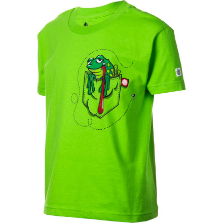 Skateboard Maybe having a screen-printed frog on his chest and slingshot on the back of his Element Frog Boys' Short-Sleeve T-Shirt will deter him from carrying around the real things. Then again, probably not. - $17.95