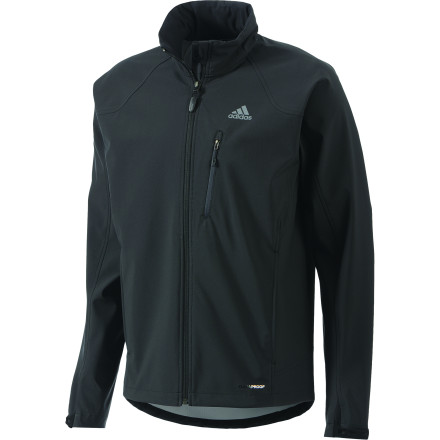 Camp and Hike The adidas Hiking/Trekking Softshell Jacket features breathable, stretchy ClimaProof Wind fabric for next-level mobility and comfort while out on the trail. The adjustable collar and hood let you control the fit and airflow to suit the weather conditions and your level of activity. - $109.95