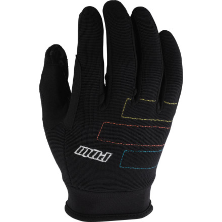 MTB The Pow Gloves High Five Gloves' anatomic cut covers your hands with materials and construction in order to enhance grip and comfort when getting a singletrack fix. It features a soft, corded nylon fabric at the back of the hand for durability in a region that's often over looked. This ensures that low hanging branches and rock walls won't snag or tear the High 5. Also adding to durability is double seam stitching. This way, seams hold up after seasons of abuse. A neoprene wrist cuff is stretchy enough to permit movement and blood flow, while still allowing the hook-and-loop closure to hold the glove securely in place. At the palm, synthetic Clarino leather provides a commanding grip that's unaffected when damp from mud or sweat. The High Five also receives a liberal dose of silicon print to further enhance grip and dexterity for positive braking and shifting. The Pow Gloves High Five Gloves are available in four sizes from Small to X-Large and in the colors Black, Blue, Green, and Red. - $39.95