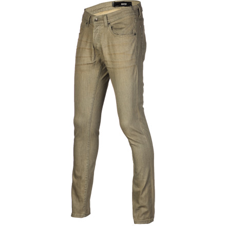 Skateboard Keep your pants legs high and dry above your shoes when you're skating in the KR3W K Slim taper Men's Denim Pant. It has a not-too-tight fit from the waist that tapers towards the hem for a small leg opening that won't hang down and interfere with your kickflips. - $55.95