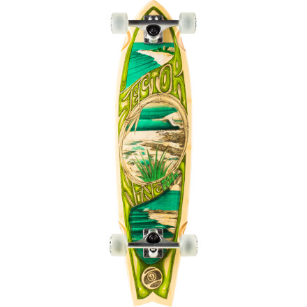 Skateboard The Sector 9 Snapper Complete Longboard features a mid-sized swallowtail shape for a precise blend of stability and maneuverability. The five-ply bamboo deck gives you a springy flex for quick turns and locked-in carves, while the soy-based Biothane wheels keep you glued to the ground. - $135.20