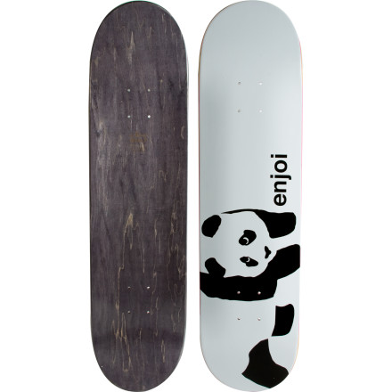 Skateboard The Enjoi Panda Logo Skate Deck works best when attached to wheels, trucks, bearings, grip, and hardware. In fact, it doesn't really work without any of that stuff, unless you are using it for riding down a set of carpeted stairs. Been there! - $39.96