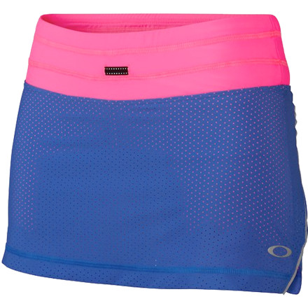 Fitness Get out on the road chasing endorphins in the Oakley Women's Runner's High Skort. This cute little boy-short-and-skirt combo is made from high-performance O Hydrolix fabric so that no sweaty, clammy sensations will interfere with your getting your daily fix. - $54.00