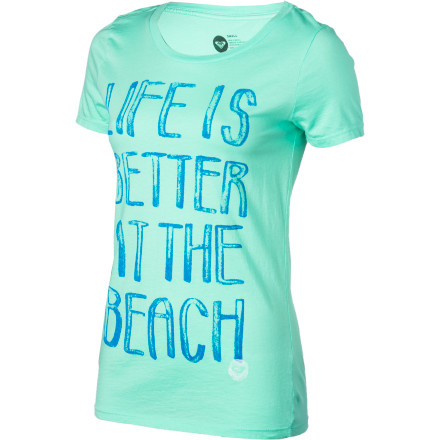 Surf Truer words have never been spoken than what it says on the front of the Roxy Better At The Beach Women's Short-Sleeve T-Shirt. - $19.50