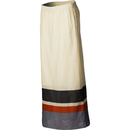 Entertainment Instead of the usual coverup, throw on the QSW Deck Stripe Maxi Skirt when it's time to leave the water for the day. You get instant allure and a unique, exotic look that will set necks to snapping wherever you go. Away from the shore, pair this sheer maxi with a cami for effortless sophistication and comfort. - $78.00