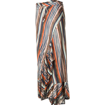 Entertainment You're a mad swirl of color on the dance floor when you shake your booty wearing the QSW Painted Stripe Skirt. This long, flowing skirt with a watercolor stripe print and an abundance of deep ruffles is as lively and colorful as you are. - $78.00
