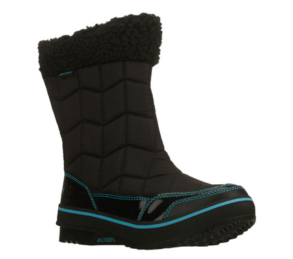 Stay warm; stylish and comfortable in the SKECHERS Highlanders - Alpine Valley boot.  Ripstop nylon fabric and shiny patent synthetic in a mid calf height back zip cold weather casual boot with stitching accents.  Waterproof and insulated design. - $63.75