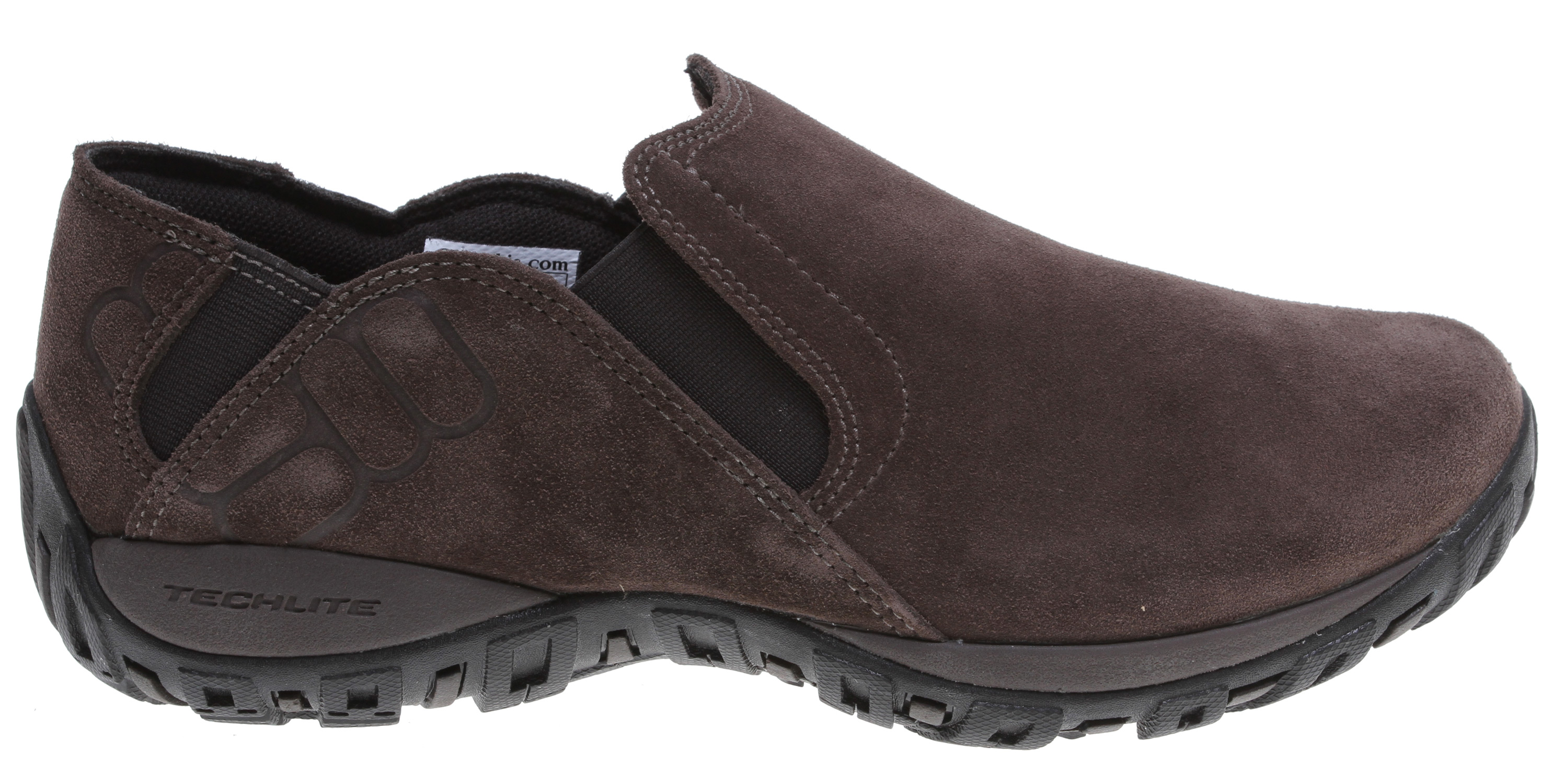 The rugged traction and stability of a much beefier boot in a convenient slip-on; keep feet comfortable and stable during outdoor activities with this durable suede leather shoe. The versatile shape translates easily to casual everyday wear. Key Features of the Columbia Pathgrinder Moc Shoes: Suede leather with stretch panels and molding details Techlite lightweight cushioned midsole Omni-Grip non-marking traction rubber Weight: size 9, 1/2 pair = 13.3 oz/377.5g Imported UPPER Suede leather with stretch panels and molding details TECHLITE MIDSOLE Techlite technology OMNI-GRIP OUTSOLE High traction non-marking rubber - $56.95