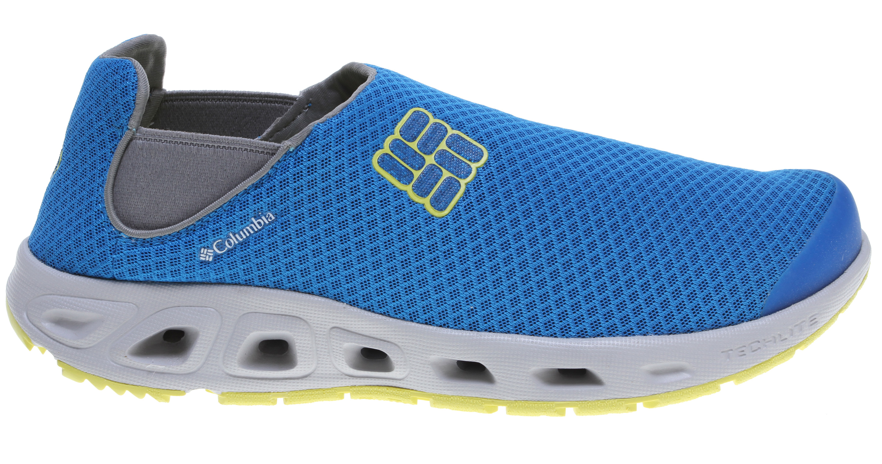 Slip-on construction makes this shoe easy to get on and off while the mesh upper, fully drainable footbed and water-specific siped outsole keep you comfortable and protected during activities in and around the water. Key Features of the Columbia Drainslip II Water Shoes: Techlite lightweight cushioned midsole Omni-Grip high traction wet grip rubber Single layer mesh/foam upper Fully drainable footbed Siped with lugs for extra traction Weight: size 9, 1/2 pair = 8.9 oz/252.31g Imported UPPER Single layer mesh/foam, Techlite technology MIDSOLE Techlite technology OMNI-GRIP OUTSOLE High traction rubber - $55.95