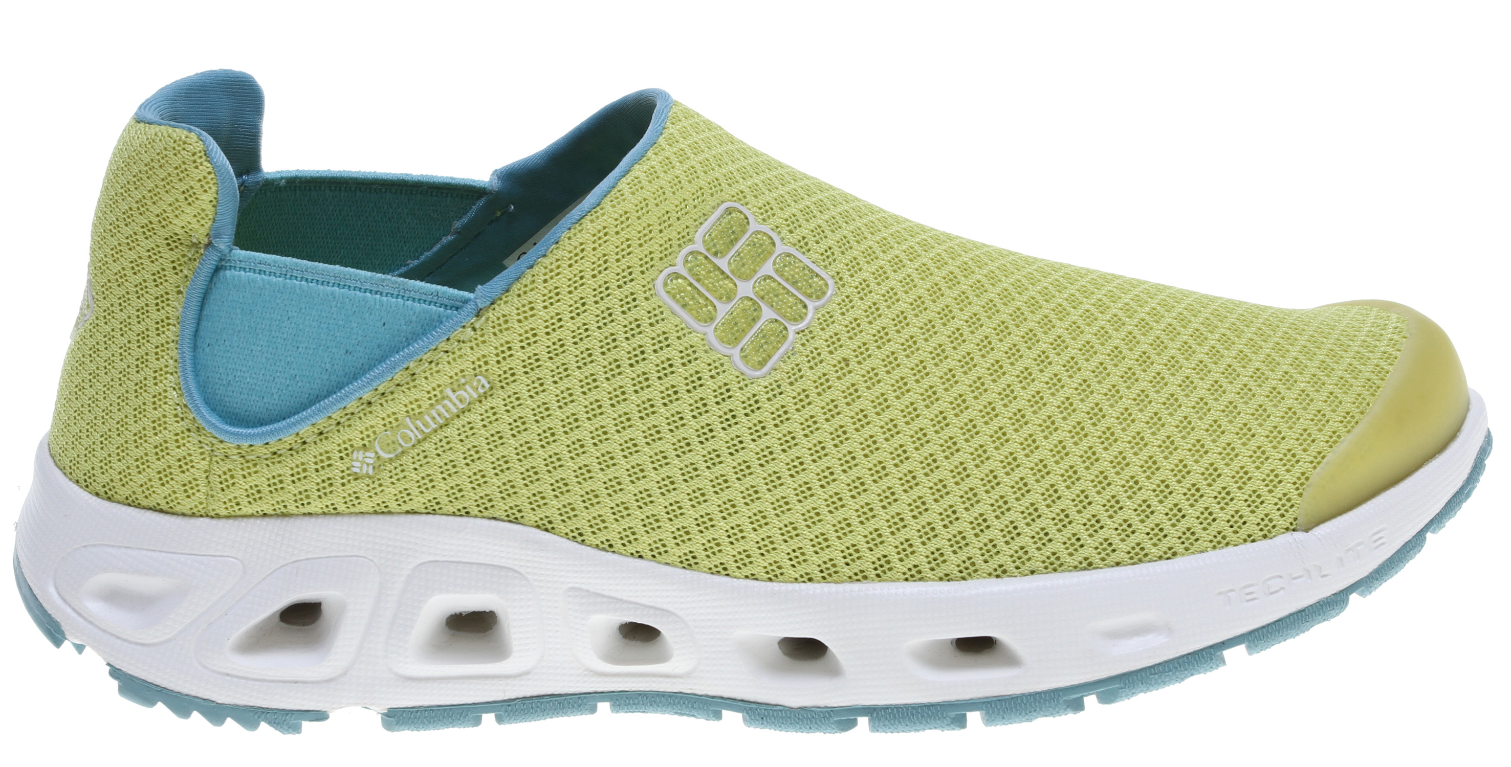 Slip-on construction makes this shoe easy to get on and off while the mesh upper, fully drainable footbed and water-specific siped outsole keep you comfortable and protected during activities in and around the water. Key Features of the Columbia Drainslip II Water Shoes: Techlite lightweight cushioned midsole Omni-Grip high traction wet grip rubber Single layer mesh/foam upper Fully drainable footbed Siped with lugs for extra traction Weight: size 7, 1/2 pair = 7.2 oz/204.12g Imported UPPER Single layer mesh/foam, Techlite technology MIDSOLE Techlite technology OMNI-GRIP OUTSOLE High traction rubber - $49.95
