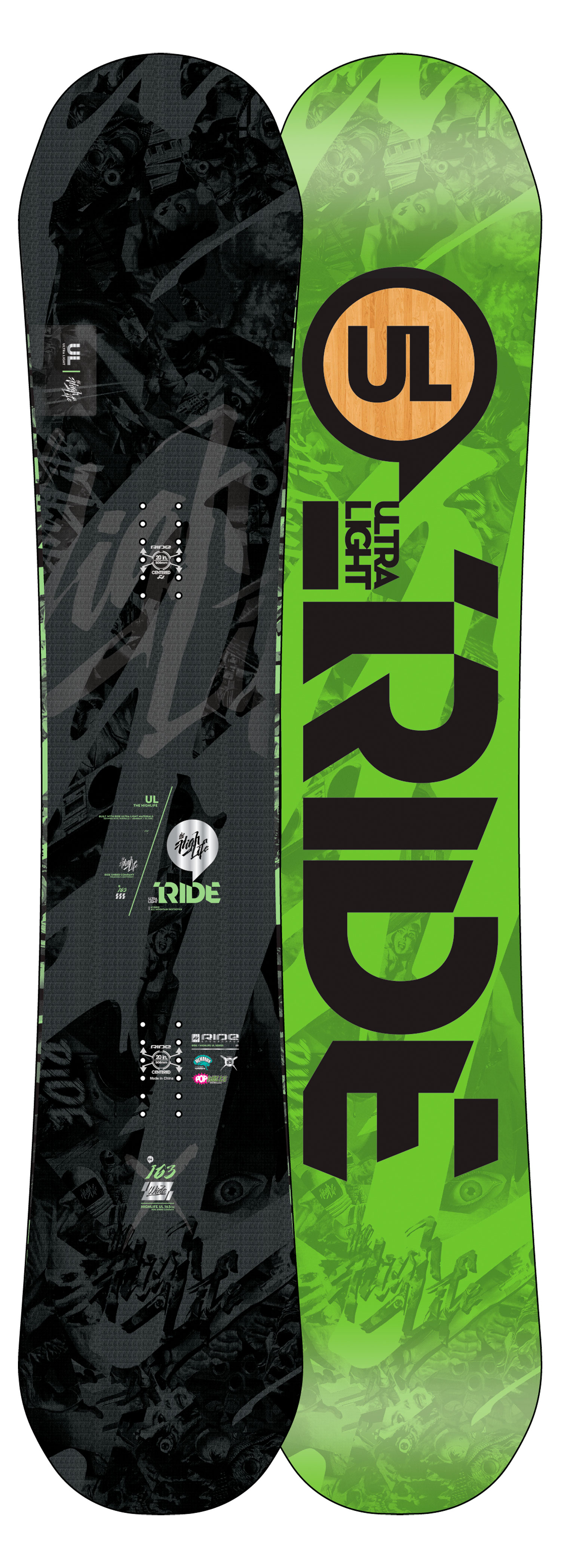 "Snowboard JUMP ABOARD THIS INTOXICATING RIDEDebuting the latest in sidewall technology, the Highlife UL showcases our potent new Popwalls that combine our urethane Slimewalls with our carbon Pop Rods for the max in pop and enhanced response. The Highlife UL also features our Hybrid All Mountain shape boasting a loose and playful rocker in the tip, and the grippy stability of camber under foot and through the tail. Complete with all of our latest UL techs, Membrain fabric top sheet and Carbon Array 5, this versatile directional deck is truly an all mountain masterpiece that ride's effortless in pow, is fun cruisin' with the crew or maching laps at warp speed. Key Features of the Ride Highlife UL Wide Snowboard: Feel: 9 All Mtn 3/4"" Setback Stance Hybrid All Mountain NEW! Popwalls Silencer 5 Carbon Array 5 Membrain UL Base Pop Glass UL Steel UL Core 2 x 4 Inserts - $398.95"