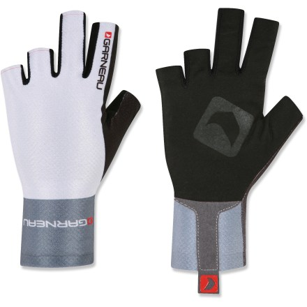 Fitness Lightweight, breathable and ideal for a range of temperatures, the fingerless Louis Garneau Diamond Speed bike gloves keep your hands happy as the miles roll by. Breathable, stretchy nylon with microfiber palms provide a smooth, snug fit. Laser-cut fingers and cuffs offer a bulk-free design with seamless edges. Inner cuff with silicone band ensures the Diamond Speed gloves stay put without pulling or irritating skin; tab on cuff makes it easy to pull gloves on and off. Pre-shaped palms curve naturally to wrap around handlebars. Closeout. - $6.73