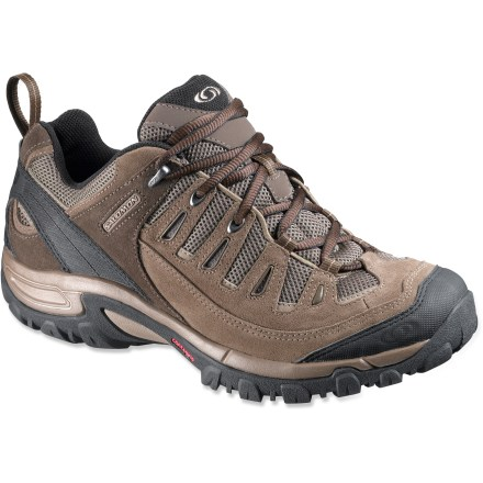 Fitness The lightweight and breathable Salomon Exit 2 Aero hiking shoes offer great cushioning and a comfortable fit that's great for travel or hiking in warm climates. Abrasion-resistant split suede leather uppers feature nylon mesh underlays for ample breathability. Padded collars and tongues protect ankles and relieve lace pressure; heel loops aid entry. Knit linings wick moisture away from your feet and dry quickly to keep you comfortable on the go. Removable EVA footbeds and molded EVA midsoles provide cushion and shock absorption underfoot. Board lasted for comfort; fiberboard insert delivers stability. Salomon Exit 2 Aero hiking shoes have Contagrip(TM) outsoles that supply reliable traction on tough terrain, wet or dry. Closeout. - $62.93