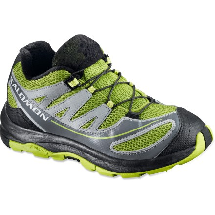 Fitness These Salomon XA Pro 2 kids' trail running and hiking shoes offer plenty of adventure-ready performance in a kid-size package. Breathable nylon mesh uppers feature synthetic leather overlays that wrap and secure insteps for a precise fit. Quickfit(TM) lacing system takes just a single pull for a precise fit; small pocket stows laces neatly away. Protective toe caps guard against bumps and abrasion. EVA insoles and midsoles absorb shock and provide cushion underfoot. Nonmarking Contagrip(R) rubber outsoles on the kids' Salomon XA Pro 2 shoes deliver traction on mixed terrain. Closeout. - $37.73