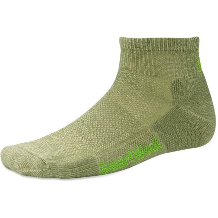 Camp and Hike With a reinforced sole and breathable panels, the men's SmartWool Hiking Ultra Light Mini socks encourage comfort from the bottom up. Made from soft merino wool blended with nylon, these socks wick moisture away from your feet, keeping them dry and cool in summer and warm in winter. WOW(TM) (wool on wool) technology increases wool content in the heel and forefoot area, improving durability and overall comfort. Mesh ventilation zones, supportive arches and ultralight cushioning ensure comfort without bulkiness. SmartWool Hiking Ultra Light Mini socks feature multiribbed cuffs and flat-knit toe seams. Closeout. - $7.73
