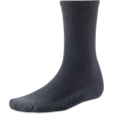 Camp and Hike With a reinforced sole and breathable panels, the men's SmartWool Hiking Ultra Light crew socks encourage comfort from the bottom up. Made from soft merino wool blended with nylon, these socks wick moisture away from your feet, keeping them dry and cool in summer and warm in winter. WOW(TM) (wool on wool) technology increases wool content in the heel and forefoot area, improving durability and overall comfort. Mesh ventilation zones, supportive arches and ultralight cushioning ensure comfort without bulkiness. SmartWool Hiking Ultra Light Crew socks feature multiribbed cuffs and flat-knit toe seams. Closeout. - $9.73