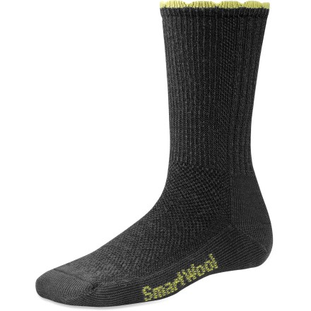 Camp and Hike The SmartWool Hiking Ultra Light women's crew socks weigh next to nothing and are designed to wear with your lighter boots for warm-weather hiking. Made from soft merino wool blended with nylon, these socks wick moisture away from your feet, keeping them dry and cool in summer and warm in winter. WOW(TM) (wool on wool) technology increases wool content in the heel and forefoot area, improving durability and overall comfort. Mesh ventilation zones, ultralight cushioning, and flat-knit toe seams ensure comfort without bulkiness. SmartWool Hiking Ultra Light Crew socks feature multiribbed cuffs and support at the arches. Closeout. - $9.73