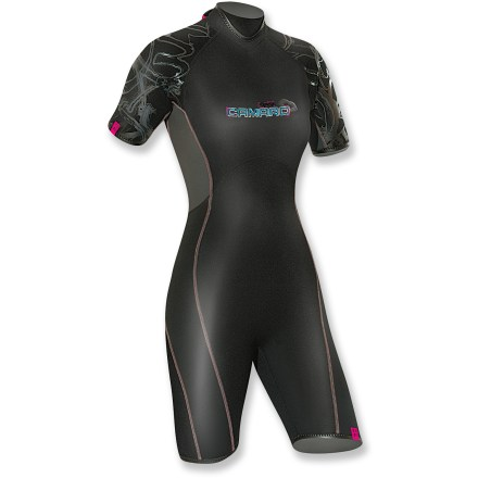 Kayak and Canoe Made specifically for surfing and kiting, the Camaro Lipstick Mono wetsuit is warm and comfortable. 3/2mm neoprene wetsuit features flex zones on side, back and chest. Back zipper and zip flap for easy entry. Highly elastic double collar helps keep water out. Flatlock seams maximize motion and minimize abrasion. The Camaro Lipstick mono wetsuit feaures a glossy kiss print on seat and silicone print on shoulders. Closeout. - $44.73