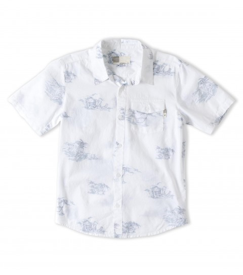 Surf O'Neill Boys V-Land Shirt.  100% Cotton reverse printed woven with silicone softeners.  Standard fit; logo embroideries and labels. - $44.00