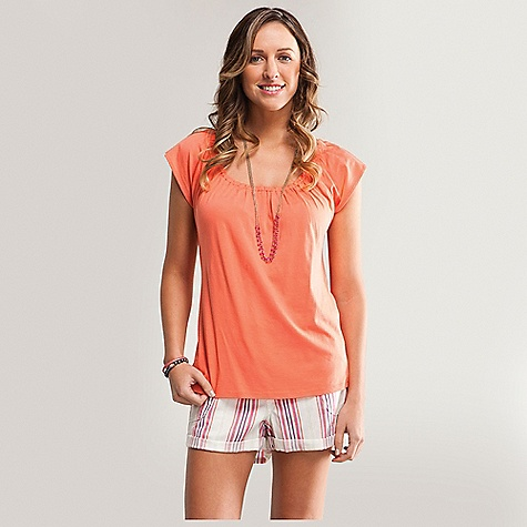 Carve Designs Women's Sanibel Top DECENT FEATURES of the Carve Designs Women's Sanibel Top Our classic tee with a feminine twist Gathering around neck Cap sleeve arms Loose fit through body Organic cotton and modal Machine wash - $47.95