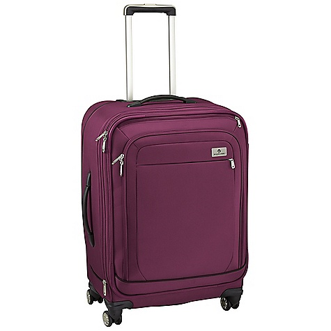 Entertainment Free Shipping. Eagle Creek Ease 4 Wheel 26 Upright Rolling Luggage DECENT FEATURES of the Eagle Creek Ease 4 Wheel 26 Upright Rolling Luggage Four multi-directional wheels offer effortless mobility Interior vertical compression wings Large full-access front zippered compartment with zippered pocket offers additional organization Sleek, comfortable and ergonomic top and side handles Expandable main compartment adds 15% more packing space Two-way lockable zippers on main compartments Coat Keeper securely holds coat on luggage and conveniently stows away in front zippered pocket Attached piggyback clip offers add-a-bag versatility Multiple interior zippered mesh pockets for packing organization Durable wheel and handle system for smooth ride Rugged skid plate and corner bumpers protect bag against urban obstacles TSA friendly lock included Slip-away luggage tag with contrast accent for easy ID Integrates with the Pack-It System, suggestions included The SPECS Capacity: 5200 cubic inches / 85 liter, Expanded: 5615 cubic inches / 92 liter Weight: 11 lbs 1 oz / 5.03 kg Dimension: 18in. x 25in. x 12in. / 44.5 x 66 x 31 cm, Expanded: 18in. x 25in. x 14in. / 44.5 x 66 x 35.5 cm Material: 1260D Helix Ballistic - $394.95