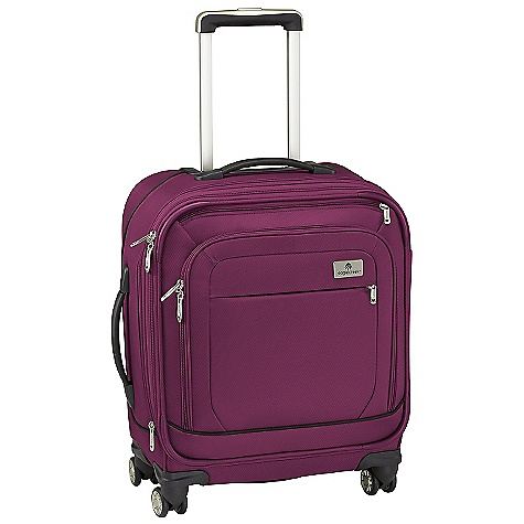 Entertainment Free Shipping. Eagle Creek Ease 4 Wheel Upright 21 International Rolling Luggage DECENT FEATURES of the Eagle Creek Ease 4 Wheel Upright 21 International Rolling Luggage Four multi-directional wheels offer effortless mobility Interior vertical compression wings Large full-access front zippered compartment with zippered pocket offers additional organization Sleek, comfortable and ergonomic top and side handles Expandable main compartment adds 15% more packing space Two-way lockable zippers on main compartments Coat Keeper securely holds coat on luggage and conveniently stows away in front zippered pocket Attached piggyback clip offers add-a-bag versatility Multiple interior zippered mesh pockets for packing organization Durable wheel and handle system for smooth ride Rugged skid plate and corner bumpers protect bag against urban obstacles TSA friendly lock included Slip-away luggage tag with contrast accent for easy ID Integrates with the Pack-It System, suggestions included The SPECS Capacity: 2200 cubic inches / 36 liter, Expanded: 2410 cubic inches / 39.5 liter Weight: 8 lbs 12 oz / 3.96 kg Dimension: 16in. x 21in. x 8in. / 40 x 53 x 22 cm, Expanded: 16in. x 21in. x 10in. / 40 x 53 x 25.5 cm Material: 1260D Helix Ballistic - $339.95