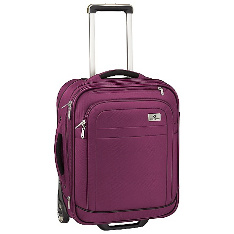 Entertainment Free Shipping. Eagle Creek Ease Upright 21 International Rolling Luggage DECENT FEATURES of the Eagle Creek Ease Upright 21 International Rolling Luggage Large exterior front zippered compartment Coat Keeper securely holds coat on luggage and conveniently stows away in front zippered pocket Padded top and side handles for easy grab-and-go Interior vertical compression straps Expandable main compartment adds 15% more packing space Two-way lockable zippers on main compartments Attached piggyback clip offers add-a-bag versatility Large interior door panel pocket with zippered mesh pocket Durable wheel and handle system for smooth ride Rugged skid plate and corner bumpers protect bag against urban obstacles TSA friendly lock included Slip-away luggage tag with contrast accent for easy ID Integrates with the Pack-It System, suggestions included The SPECS Capacity: 2380 cubic inches / 39 liter, Expanded: 2600 cubic inches / 42.5 liter Weight: 7 lbs 14 oz / 3.56 kg Dimension: 16in. x 21in. x 8in. / 40 x 53 x 20 cm, Expanded: 16in. x 21in. x 10in. / 40 x 53 x 25.5 cm Material: 1260D Helix Ballistic - $294.95