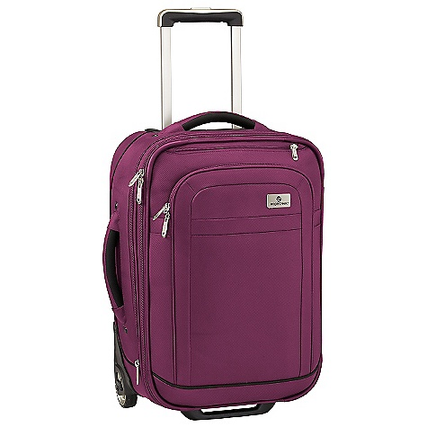 Entertainment Free Shipping. Eagle Creek Ease Upright 22 Rolling Luggage DECENT FEATURES of the Eagle Creek Ease Upright 22 Rolling Luggage Large exterior front zippered compartment Coat Keeper securely holds coat on luggage and conveniently stows away in front zippered pocket Padded top and side handles for easy grab-and-go Interior vertical compression straps Expandable main compartment adds 15% more packing space Two-way lockable zippers on main compartments Attached piggyback clip offers add-a-bag versatility Large interior door panel pocket with zippered mesh pocket Durable wheel and handle system for smooth ride Rugged skid plate and corner bumpers protect bag against urban obstacles TSA friendly lock included Slip-away luggage tag with contrast accent for easy ID Integrates with the Pack-It System, suggestions included The SPECS Capacity: 2500 cubic inches / 41 liter, Expanded: 2750 cubic inches / 45 liter Weight: 7 lbs 13 oz / 3.54 kg Dimension: 14in. x 22in. x 9in. / 35.5 x 56 x 24 cm, Expanded: 14in. x 22in. x 11in. / 35.5 x 56 x 28 cm Material: 1260D Helix Ballistic - $294.95