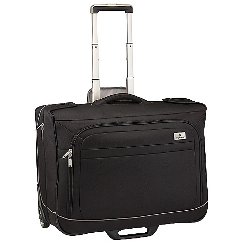 Entertainment Free Shipping. Eagle Creek Ease Wheeled Check-In Garment Bag DECENT FEATURES of the Eagle Creek Ease Wheeled Check-In Garment Bag Exterior zippered front compartment for additional packing Two-way lockable zippers on main compartments 2 Wally Clamps hold multiple hangers Five interior zippered pockets for packing organization Interior padded compression straps keep clothes secure and minimize wrinkles Padded top carry handle Durable wheel and handle system for smooth ride Rugged skid plate protects bag against urban obstacles TSA friendly lock included Slip-away luggage tag with contrast accent for easy ID The SPECS Weight: 10 lbs 9 oz / 4.8 kg Dimension: 24in. x 19in. x 10in. / 61 x 49 x 25 cm Material: 1260D Helix Ballistic - $394.95