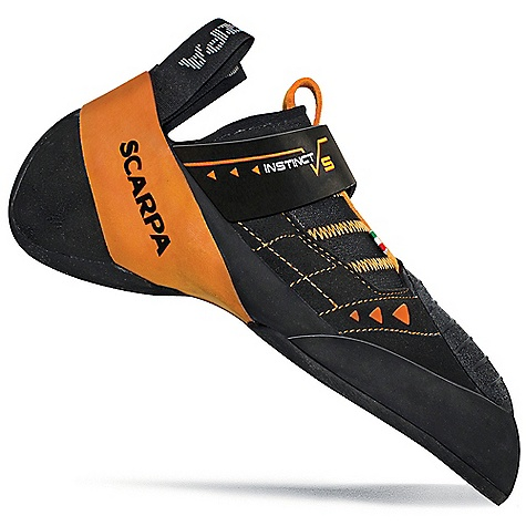 Climbing The Scarpa Instinct VS Climbing Shoe is a Velcro slipper for pro Performance on intense bouldering or hard sport routes. A floating Velcro strap secures the shoe in place and readies you for the climb ahead. The Upper is made with 100% Lorica, a microsuede material that won't stretch and is durable enough for the long haul. The Bi-tension rand system wraps the foot providing power to your toes on the tiniest of holds. The Vibram XS Edge rubber Outsole grips without a second thought. Features of the Scarpa Instinct VS Climbing Shoe Bi-Tension active randing system provides maximum toe power 100% Microsuede for incredible comfort, no stretch and long-term durability Rubber toe patch provides toe-scumming and hooking power Vibram XS Edge provides incredible grip and durability Floating power strap enhances Fit and provides power - $169.95