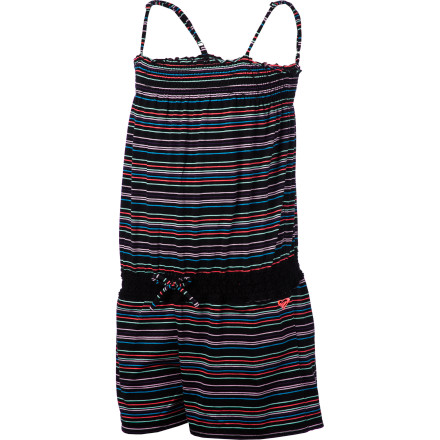 Surf What blends comfort and sporty style better than a pretty, strappy romper You won't think of anything when you see the sweet Roxy Girls' Secret Wish Romper. With spaghetti straps and bright, cheery stripes, this one-piece suit looks and feels like a dream. A crochet waistband adds shape and flattering femininity. Cotton-polyester construction always feels great and provides casual versatility. - $34.00