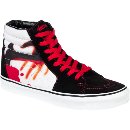 Skateboard If you worship the face-melting sounds of Metallica, then you need to get the Vans Metallica Sk8-Hi Men's Shoe on your feet immediately. It's the classic Sk8-Hi you already love in an all-black colorway that's as dark as your heart, with artwork by legendary Metallica frontman James Hetfield on the tongue. Unfortunately, it won't help settle whether Master Of Puppets or the Black Album is Metallica's best album, so you'll still have to figure that one out for yourself. - $55.96