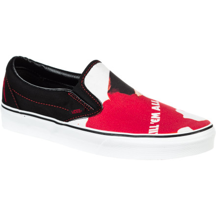 Skateboard Pay tribute to one of the greatest and most influential bands of all time with the Vans Metallica Classic Men's Slip-On Shoe. The classic Vans slip-on upper features the cover artwork from Metallica's first studio album, 'Kill Em All' so that you can remind everyone where it all began. - $49.46