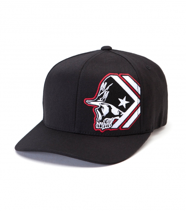 Motorsports Metal Mulisha Mens Hat.  83% Acrylic / 15% Wool / 2% PU spandex curved visor flexfit cap with flat embroidery on left front panel and under visor screen. - $23.99